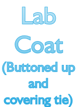 Lab  Coat (Buttoned up  and  covering tie)